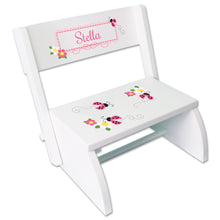 Personalized Pink Ladybugs Childrens Stool