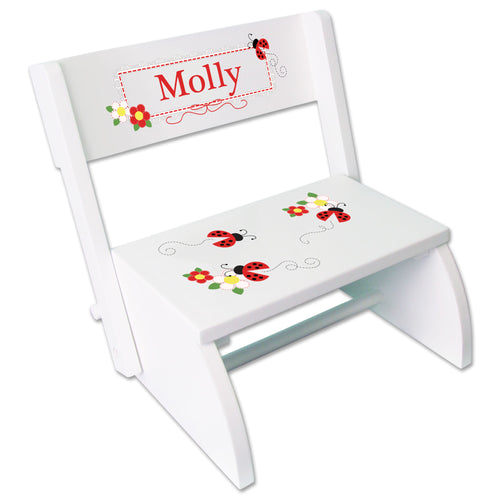 Personalized Red Ladybugs Childrens Stool