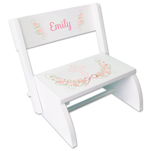 Personalized Childrens White Flip Stool With Girls Blush Baptism Design