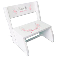 Personalized Pink Gray Floral Garland White Flip Stool