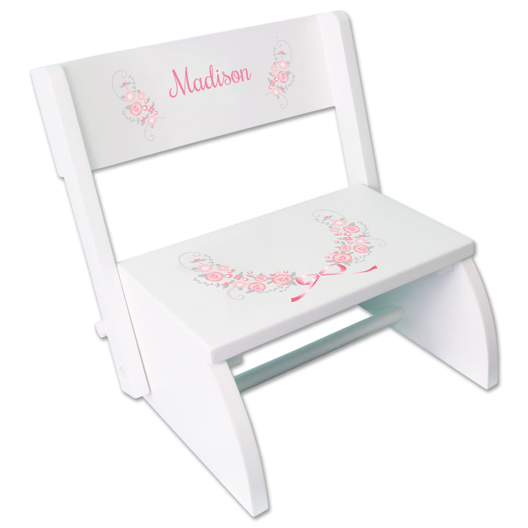 Personalized Pink Gray Floral Garland Childrens Stool