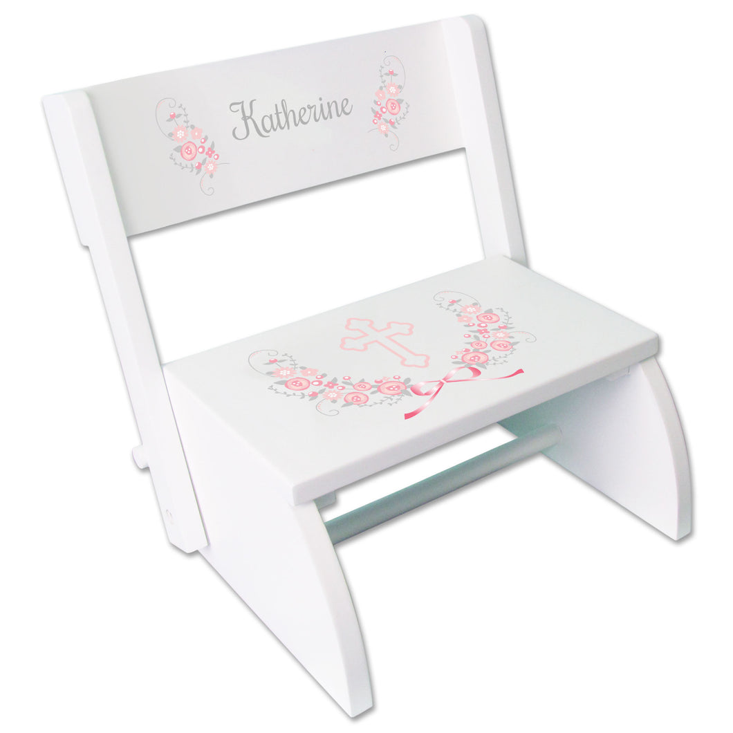 Personalized Holy Cross Pink Gray Floral Garland Childrens White Flip Stool