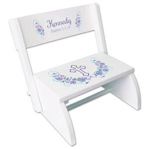 Personalized Lavender Floral Cross Children's White Flip Stool