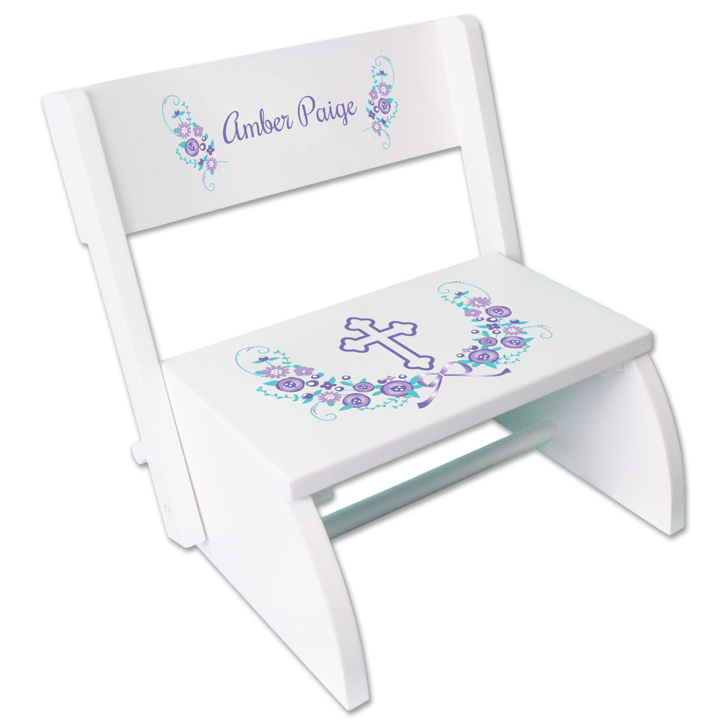Personalized Holy Cross Lavender Floral Garland Childrens White Flip Stool