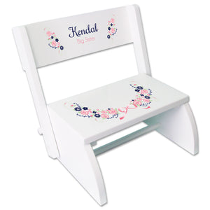 Personalized Navy Pink Floral Garland White Flip Stool