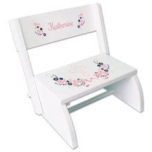 Personalized Holy Cross Navy Pink Floral Garland Childrens White Flip Stool