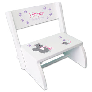 Personalized Kitty Cat Childrens Stool