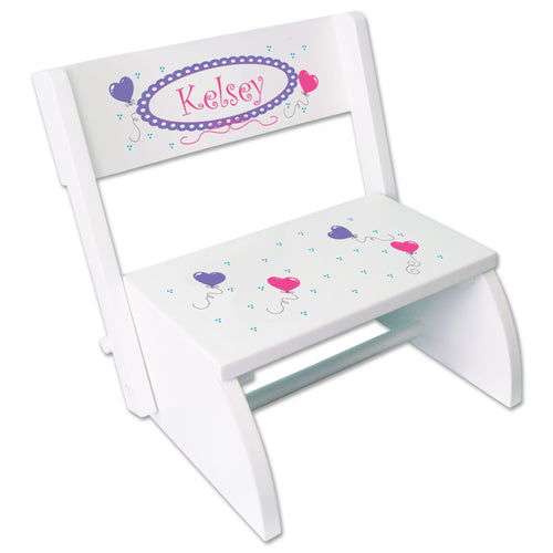 Personalized Heart Balloons Childrens Stool