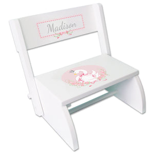Personalized Swan Childrens Stool