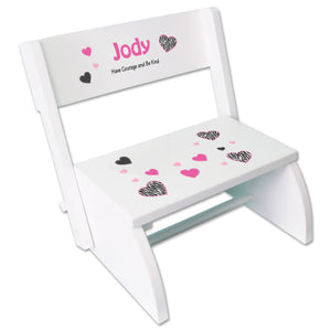 Personalized Groovy Zebra White Flip Stool