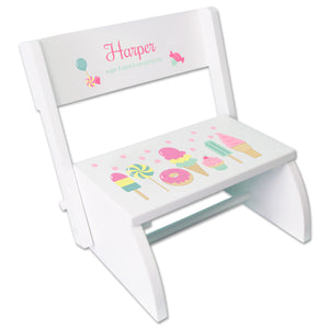 Personalized White Stool Sweet Treats Candy Design