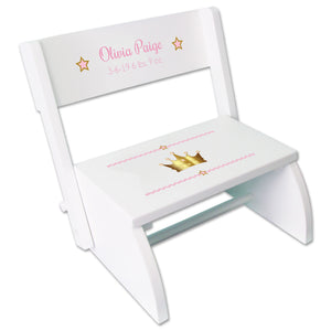 Personalized Pink Princess Crown Childrens Stool