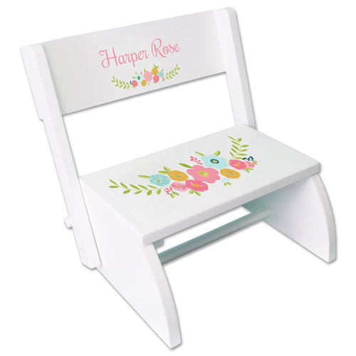 Personalized Spring Floral WhiteStool