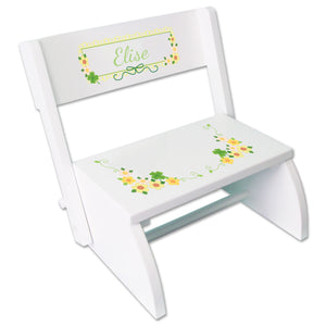 Personalized White Stool Shamrock Design