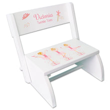Personalized Blonde Ballerina White Flip Stool