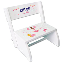 Personalized Cheerleader White Flip Stool