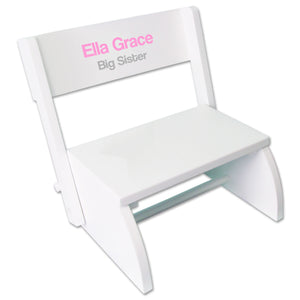 Personalized Child's White Flip Stool - Name Only