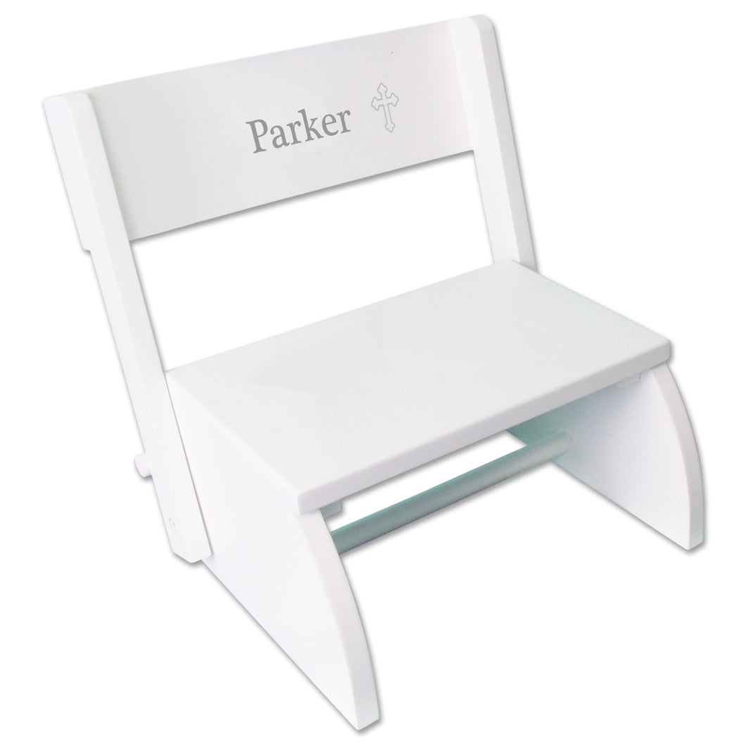 Personalized Single Cross Design White Flip Stool