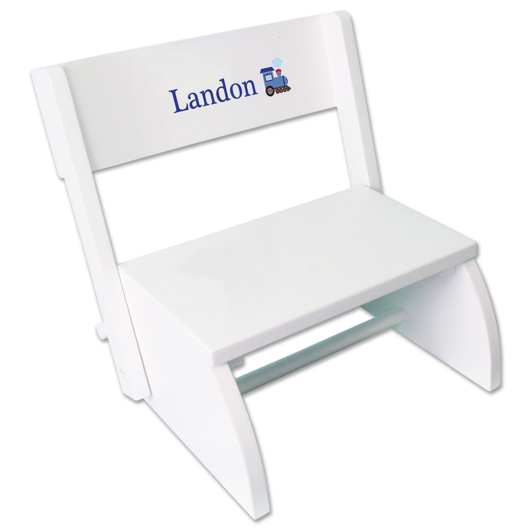 Personalized Single Train Design White Flip Stool