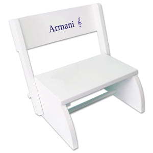 Personalized Single Music Design White Flip Stool