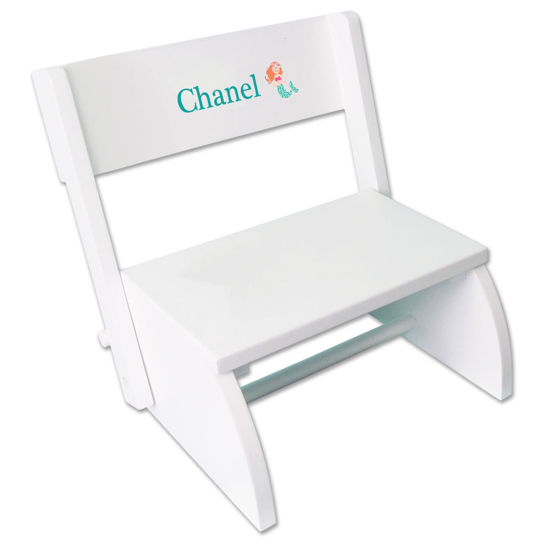 Personalized Single Mermaid Design White Flip Stool