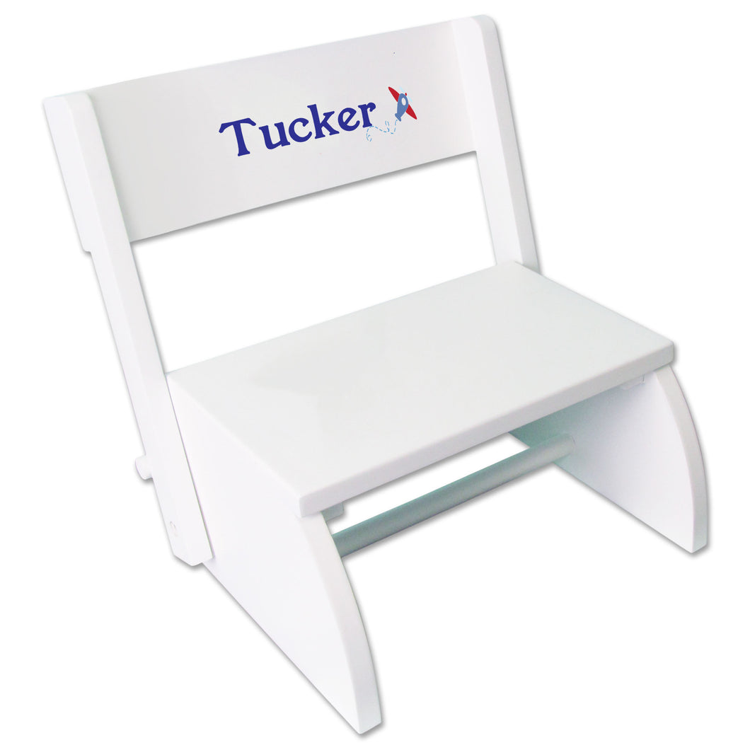 Personalized Single Plane Design White Flip Stool