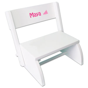Personalized Single Megaphone Design White Flip Stool