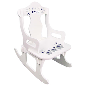 Navy Elephant Puzzle Rocker