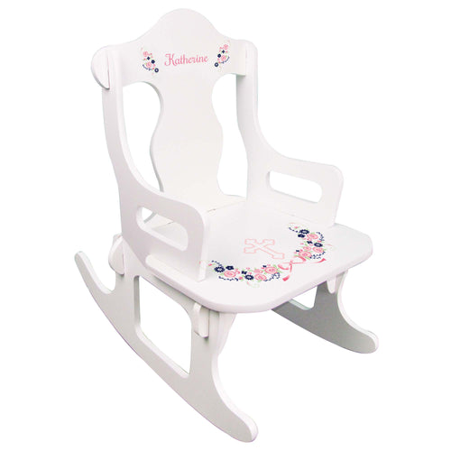 Navy Pink Floral Cross Puzzle Rocker