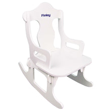 monogrammed child's puzzle rocking chair