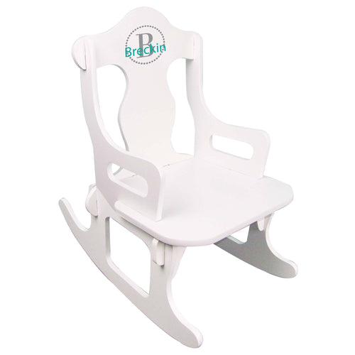 childs monogrammed natural wood rocking chair