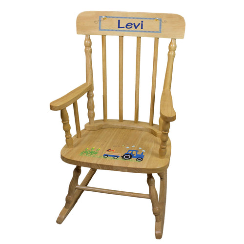 Natural Blue Tractor Spindle Rocking Chair