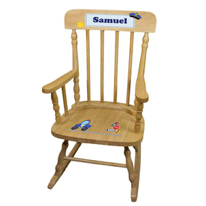 Police Natural Spindle Rocking Chair