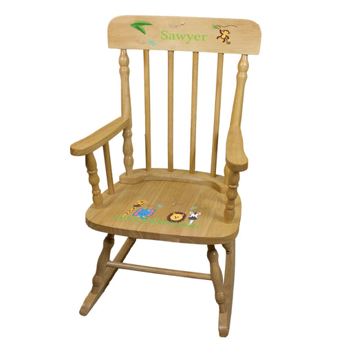 Jungle Animal Natural Spindle Rocking Chair