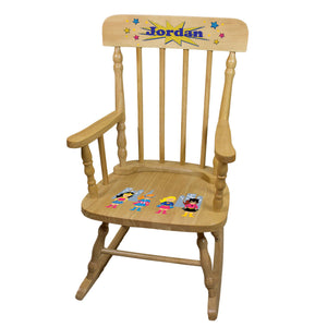 Girls Superhero Natural Spindle Rocking Chair