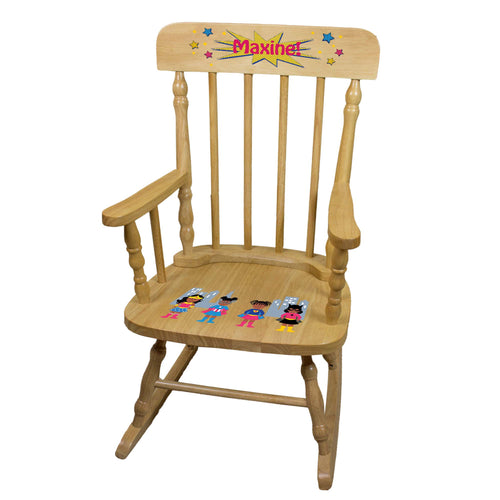 African American Superhero Girl Natural Spindle Rocking Chair