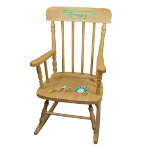 Gingham Owl Natural Spindle Rocking Chair