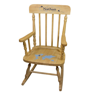 Blue World Map Natural Spindle Rocking Chair