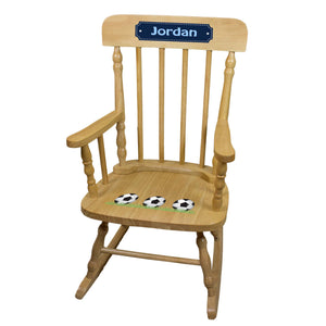Soccer Natural Spindle Rocking Chair