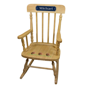 Football Natural Spindle Rocking Chair