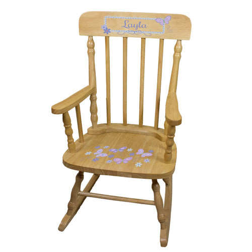 Lavender Butterflies Natural Spindle Rocking Chair