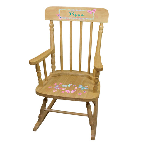 Aqua Pink Butterflies Natural Spindle Rocking Chair