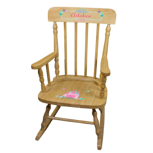 Pink Teal Princess Castle Natural Spindle Rocking Chair