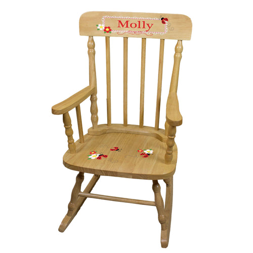 Red Ladybug Natural Spindle Rocking Chair