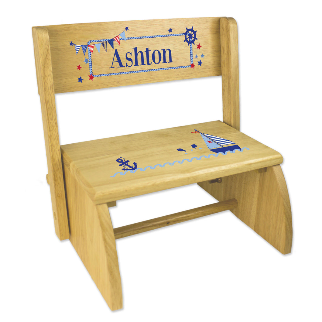 Personalized Boys Sailboat Childrens And Toddlers Wooden Folding Stool