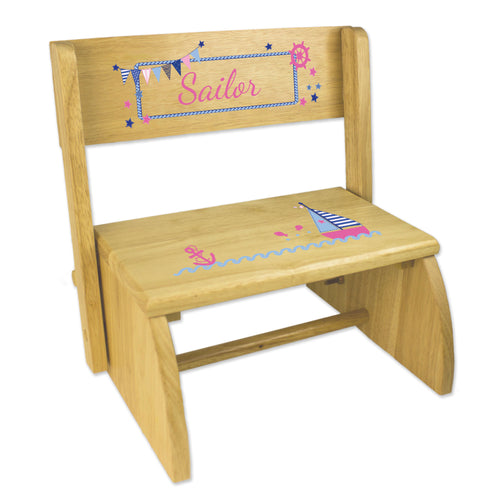 Personalized Pink Sailboat Childrens And Toddlers Wooden Folding Stool