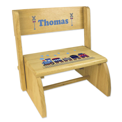 Personalized Train Childrens And Toddlers Wooden Folding Stool