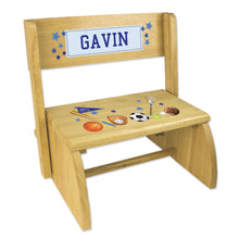 Personalized Sports Childrens And Toddlers Wooden Folding Stool