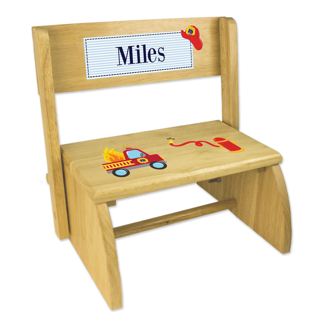 Personalized Fire Truck Childrens And Toddlers Wooden Folding Stool