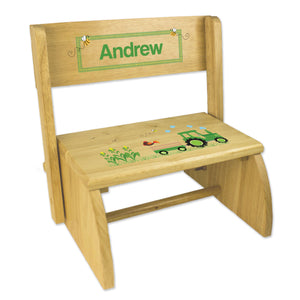 Personalized Green Tractor Childrens And Toddlers Wooden Folding Stool
